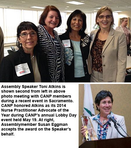 Photos of Assembly Speaker Toni Atkins with CANP members